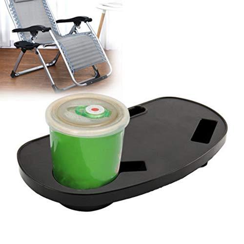 Balai Getränkehalter für Klappliegestuhl, Universal Utility-Fach für Strandkorb, Gartenliege Tablett (schwarz)