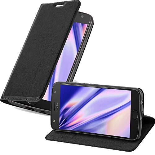 Cadorabo Hülle für Motorola Moto X4 - Hülle in Nacht SCHWARZ – Handyhülle mit Magnetverschluss, Standfunktion & Kartenfach - Case Cover Schutzhülle Etui Tasche Book Klapp Style