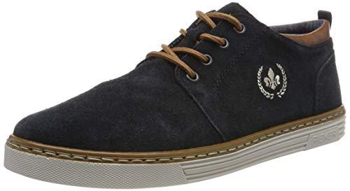 Rieker Herren B4930-14 Obermaterial Leder Sneaker, Blau (Pazifik/Peanut 14), 42 EU