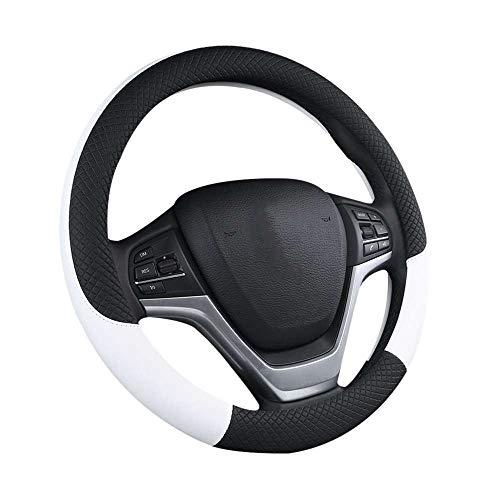 VVU 37-38 CM Cubierta de Volante de Coche de Cuero Artificial Cubiertas de Volante de Tela Transpirable Trenza Accesorios de automóvil universales