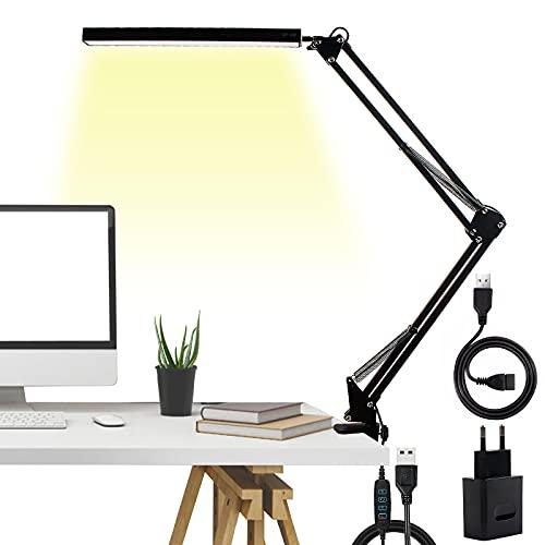 QWF LED Schreibtischlampe mit Klemme, Metallrotierender Arm Leselampe, Augenpflege/Dimmbar Architektenlampe, 3 Farbtemperaturen Tischlampe für Büro Schule Wohnheit, Adapter und USB-Kabel inkl.