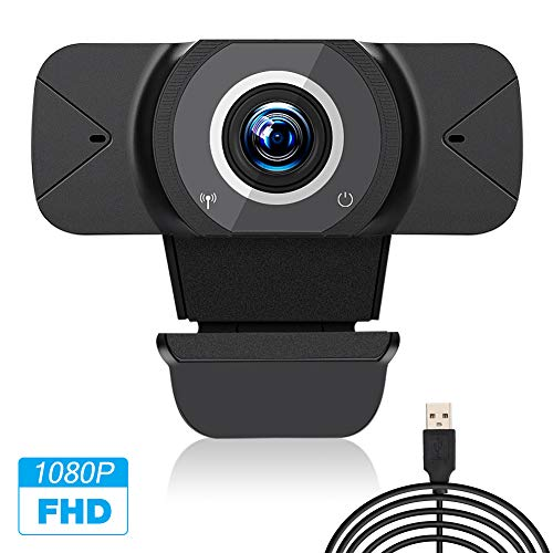 Etmury Webcam mit geräuschunterdrückendem Mikrofon, Videokamera in Full HD 1080P bei 30 fps, USB Plug and Play, Videotelefonie in Konferenzräumen, Skype,Netmeeting,MSN,Yahoound andere Programme