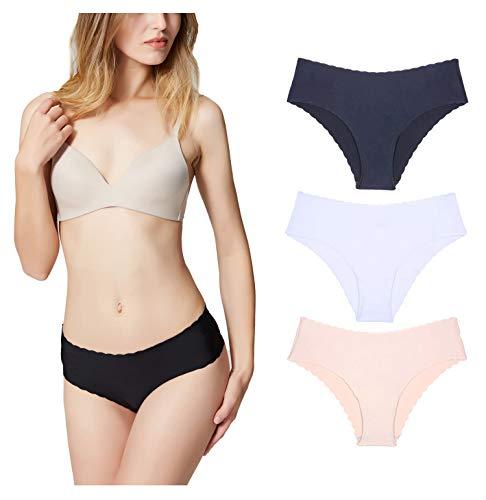 Misolin Damen Slips Nahtlos Unterwäsche Bikinis Taillenslips Seamless Unsichtbare Dehnbare Bequeme Panties Hipsters 3 Pack Schwarz/Beige/Weiß XS
