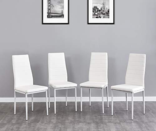 Salbay Juego de 2/4/6, sillas de cocina de cuero sintético con patas de metal cromado para comedor, sala de estar, oficina y salón (blanco, 4)