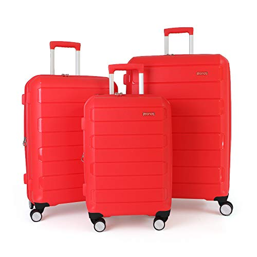 Eono by Amazon Expandable Luggage Set of 3 Piece Polypropylene Hard Shell Anti-Scratch Suitcases with 4 Spinner Wheels and Built-in TSA Lock, 55 cm, 66 cm, 76 cm, Red