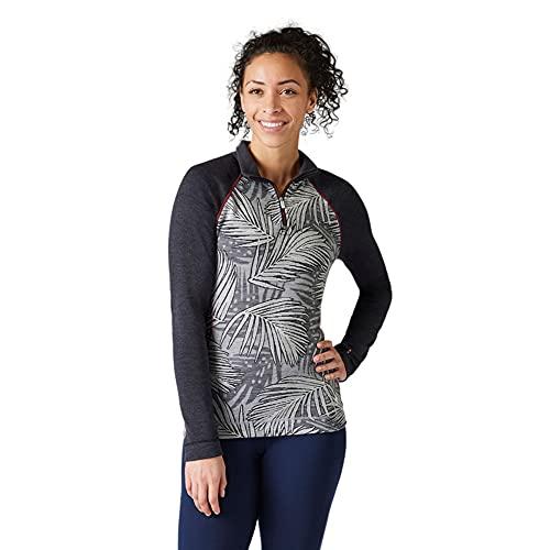 Smartwool Women's Merino 250 Pattern 1/4 Zip Long Sleeve Base Layer – Moisture-wicking, Odor-resistant Merino Wool Top for Skiing, Hiking, Biking & Cold Weather Outdoor Activities - Light Gray Palm, M