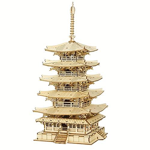 ROBOTIME DIY Pagoda de 5 pisos 3D Puzzles de madera Kits de