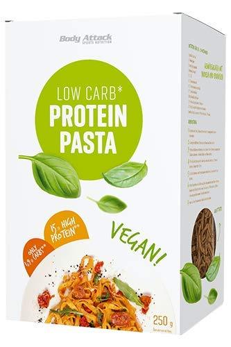 Body Attack Vegane Low-Carb-Pasta – 250g Packung - 15g Protein auf 100g und nur 1,9g Kohlenhydrate (High Protein) - leckere Eiweiß Bandnudeln, inkl. gratis Kochrezept (auf der UVP.) Made in Germany