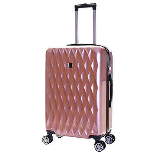 Karabar Hard Shell Medium Large Suitcase Luggage Bag 66 cm 3.4 kg 65 litres Polycarbonate PC with 4 Spinner Wheels and Integrated TSA Number Lock, Diamond Rose Gold