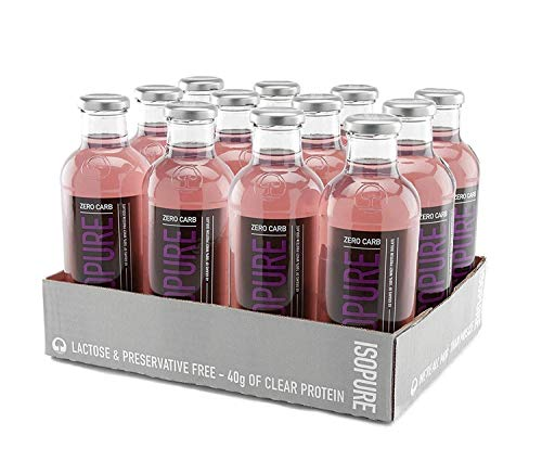 Isopure 40g Protein, Zero Carb Ready-To-Drink- Grape, 20 Fl Oz (Pack of 12)