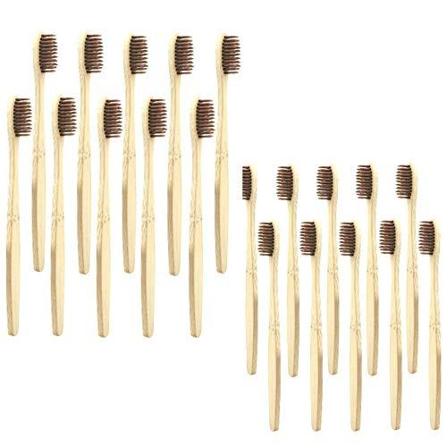 20 Packungen Bambus-Zahnbürsten, natürliche, umweltfreundliche Bambus-Zahnbürste, weiche Kohle-Borsten, Holz-Zahnbürste, Pflege, Bio-Bambus-Zahnbürsten für gesunde Zahnärzte, zufällige Farbe