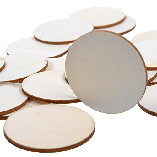 BCP 40-piece 2' Round Disc Unfinished Wood Cutout Circles for Creating Jewelry Painted Christmas Tree Decorated/craft Projects