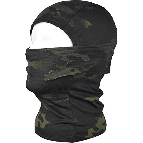 QMFIVE taktische airsoft outdoor - jagd - ninja - hood tarnung flexible voll schützende maske (BK)
