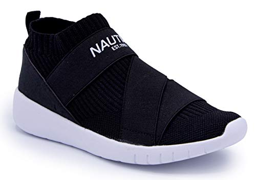 Nautica Women Vivien Fashion Slip-On Sneaker Comfort Running Shoes with High Sock and Thick Heel-Black-9.5
