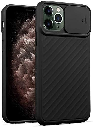 Oihxse Funda Silicona Compatible con iPhone 6/iPhone 6S 4.7 con Tapa Deslizante Protección Cámara Cáscara Silicona Líquida Suave TPU Bumper Ultra Delgada Antigolpes Anti-rasguños Case Cover,Negro