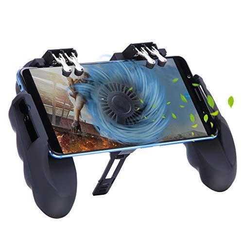HEYSTOP Mando Movil PUBG, Controlador de Juego Móvil con Soporte para teléfono Ajustable y Ventilador de Enfriamiento, Sensible de Disparo Gamepad para Android y iOS [Operación con Seis Dedos]