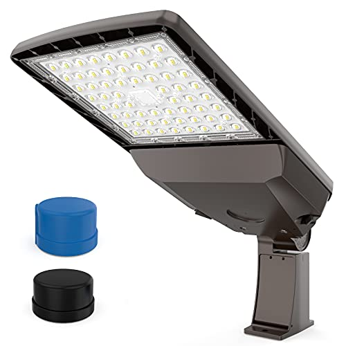 LED Parking Lot Lights with Dusk to Dawn Photocell 100W 15,000Lm (150lm/w) 5000K UL DLC Certified IP65 LED Pole Light for Area Pole Lighting 180°Adjustable Pole Mount Single Installation