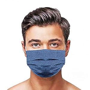 GGSEU Stoffmasken Mundschutz Maske Stoff Mund Nasen Schutzmaske Mund und Nasenschutz Maske waschbar groß (blaue Jeans)