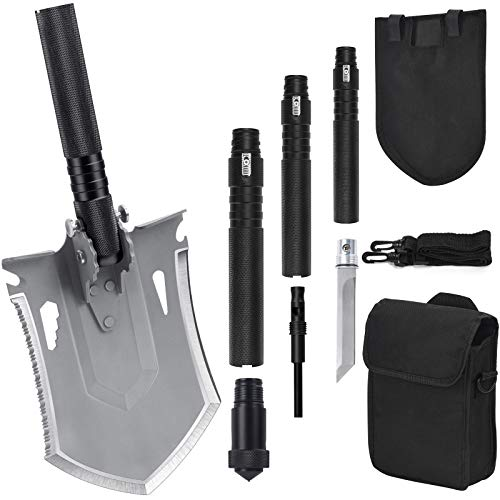 iunio Survival Folding Shovel with Handle Lock Design, Portable Entrenching Tool, Foldable Camping Multitool, Tactical Collapsible Spade for Hiking, Backpacking, Offroading, Car Emergency (Black)