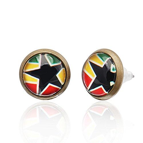 CHIC de Net Brass Pendientes Estrella de 10mm 12mm Multicolor Pendientes Unisex de acero inoxidable sin níquel, Rasta