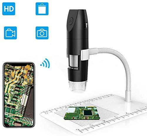 JFENGHUAUNG WiFi microscopios Digitales, Magnificación Microscopía 1080P 1000X USB con 8 LED Paquete de 12 Diapositivas