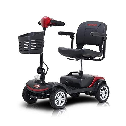Elektromobil mit 4 Rädern, Seniorenfahrzeug, Krankenfahrstuhl, Faltbar und kompakt, Blau, Modell Piscis (12AH Rot 10Miles(ca.16KM))