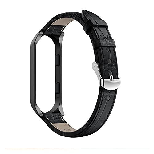 HENHEN Jun store - Correa de piel de lujo para Xiaomi Band 3, compatible con pulseras inteligentes MIband 4 + carcasa de metal (color de la correa: negro, ancho de la correa: Miband 4)