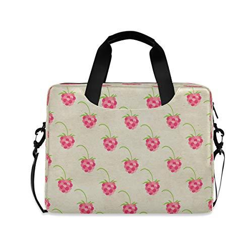 Cute Seamless Raspberry Fruit Brown Laptop Carrying Case Shoulder Bag Briefcase W/Strap Women Men 15.6' 16'