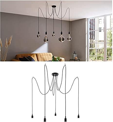 Luz colgante nórdico Ketil 1-llama IP44 Splash Protection Max 20W lámpara colgante Negro Lámpara de techo de silicona Plástico Colgante Lámpara E27-5er-pendel