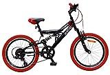 AMIGO Fun Ride - Bicicleta de montaña de suspensión completa, 20 pulgadas, 7 velocidades, unisex, negro/rojo