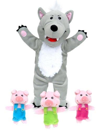 Tellatale T-2458 - Marionetas de dedo de los 3 cerditos y marioneta de mano de lobo feroz