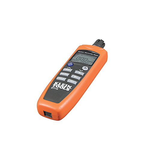 Klein Tools ET110 CO Meter, Carbon Monoxide Tester and Detector with Exposure Limit Alarm, 4 x AAA Batteries and Carry Pouch Included