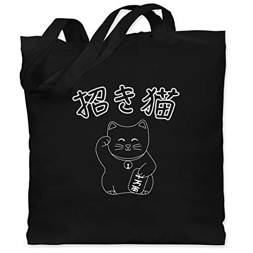 Shirtracer Katzen - Winkekatze- Japanisch - Unisize - Schwarz - jutebeutel bedruckt - WM101 - Stoffbeutel aus Baumwolle Jutebeutel lange Henkel