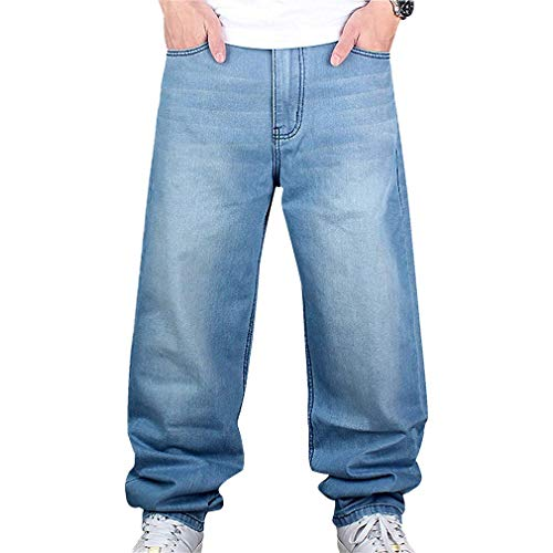 junkai Jeans Hip Hop Uomo Pantaloni Stile Hipster Jeans Rap Denim Urban Skate Gamba Dritta Allentata per Adolescenti Azzurro 32