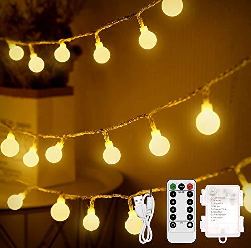 Lichterkette Kugel, Othran 10M 100 LED Lichterkette Außen Innen Batterie/USB, Warmweiße Globe Balkon Lichterketten Aussen Timer & 8 Modi & Wasserdicht, für Weihnachtsdeko, Hochzeit, Party