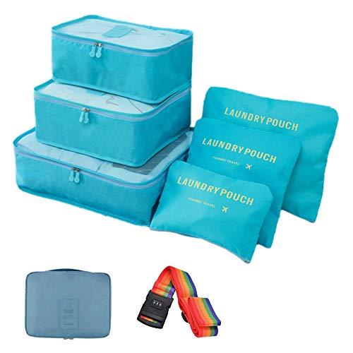 トラベルポーチ アレンジ ケース スーツケース ランドリー ポーチ 6点 + ポーチ1点 + スーツケースベルト セット 4色 から選べる | 旅行 出張 収納 小分け バッグインバッグ 衣類 整理整頓 レインボー ダイヤルロック (スカイブルー)
