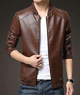 Men Casual Fashion Jacket pu Leather baseball collar Zip Up Jacket Coat -L size