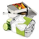 """KOFFA - """"Trio"""" Edelstahl Brotdose / Brotzeitbox mit Unterteilung für Kinder & Erwachsene / Nachhaltige Bento Box mit 3 Fächern, perfekt geeignet als Kinder Brotbüchse & Vesperbox"""