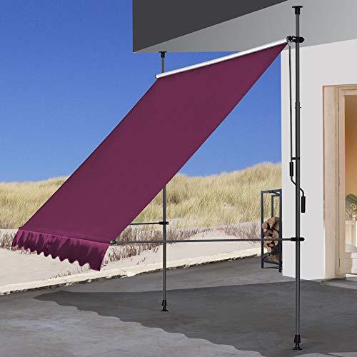 QUICK STAR Klemmmarkise 300 x130cm Bordeaux Balkonmarkise Sonnenschutz Terrassenüberdachung Höhenverstellbar von 200-290cm Markise Balkon ohne Bohren