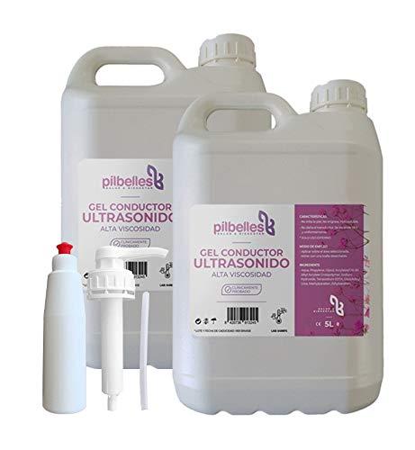 Gel Conductor de ultrasonido de alta viscosidad PILBELLES.10 LITROS: 2 Garrafas de 5 litros.