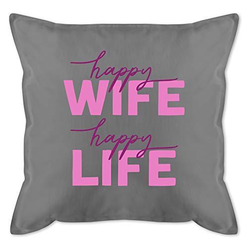 Shirtracer Kissen mit Spruch - Happy Wife Happy Life Lettering Combi rosa - Unisize - Grau - rosa Kissen - GURLI Kissen mit Füllung - Kissen 50x50 cm und Dekokissen mit Füllung