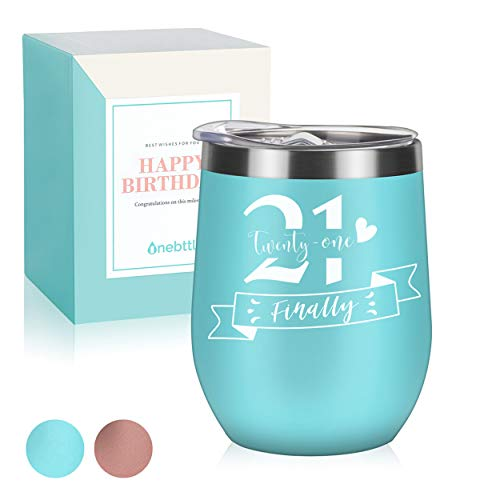 Onebttl 21st Birthday Wine Tumbler For Women, Female, Her - Finally 21-12oz Stainless Steel Insulated Wine Tumbler with Lid, Message Card - (Blue)