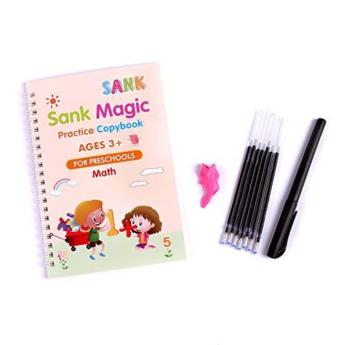 Sank Magic Practice Copybook for Kids - The Print Handwiriting Workbook-Reusable Writing Practice Book (Math Book with Pen)
