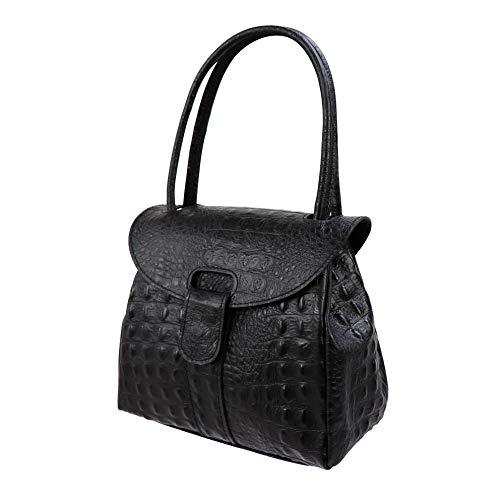 SH Leder Echtleder Schultertasche Handtasche Genarbte Leder 27x21cm Vanessa G222 (Schwarz Kroko)