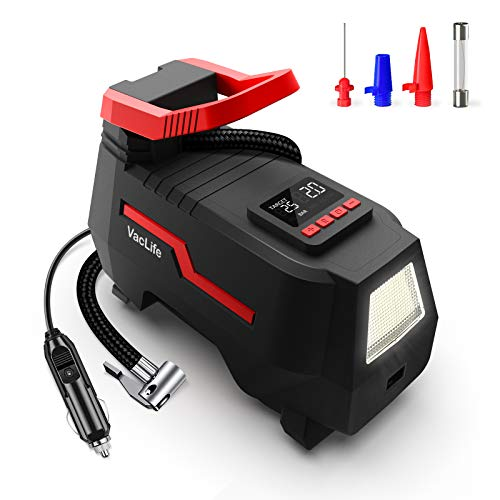 VacLife Tire Inflator for Car Tires, Bicycles with Schrader Valve and Other Inflatables, DC 12V Portable Air Compressor with Emergency LED Light & 9.2 Ft Long Power Cord, Auto Shut Off (VL731)