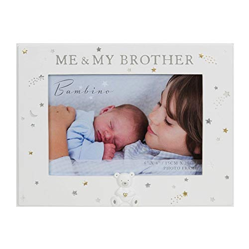 Bambino Me and My Brother Photo Frame With Raised Teddy Icon Resin Moul
