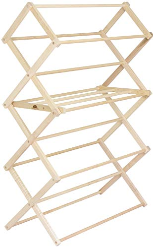 Pennsylvania Woodworks Clothes Drying Rack: Solid Maple Hard Wood Laundry Rack for Shirts, Jeans, Kids' Clothing & More, Heavy Duty Folding Drying Rack, Made in USA, No Assembly Needed, Large