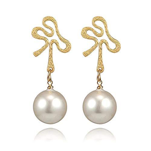 Geometrische onregelmatige spiegel parel goud Dangle Drop oorbellen Trendy vrouwen lange sectie Stud oorbel