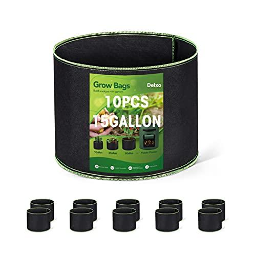 HOUSE DAY 10-pack 15 gallon odlingspåsar kraftig luftning tyg krukor förtjockade icke-vävda tyg krukor växt växtpåsar med handtag