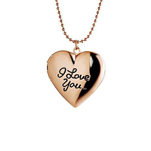 Dunbasi Schmuck für Paare Gravur I Love You Foto Medaillon Herz Halskette mit Kette zum öffnen Anhänger für Damen und Herren (Roségold)